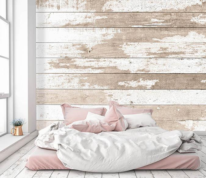 [Self-Adhesive] 3D White Brown Gradient Wood Board 3 Wall Paper Mural Wall Print Decal Wall Murals