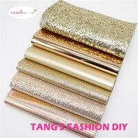 6pcs-высокое качество новый смешанный стиль розовое золото цвет смесь pu кожа набор/синтетическая кожа набор/DIY ткань 20x22 см за шт