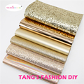 6pcs--20X22CM DIY Hair Bow Material Rose Gold Color Mix PU synthetic leather set