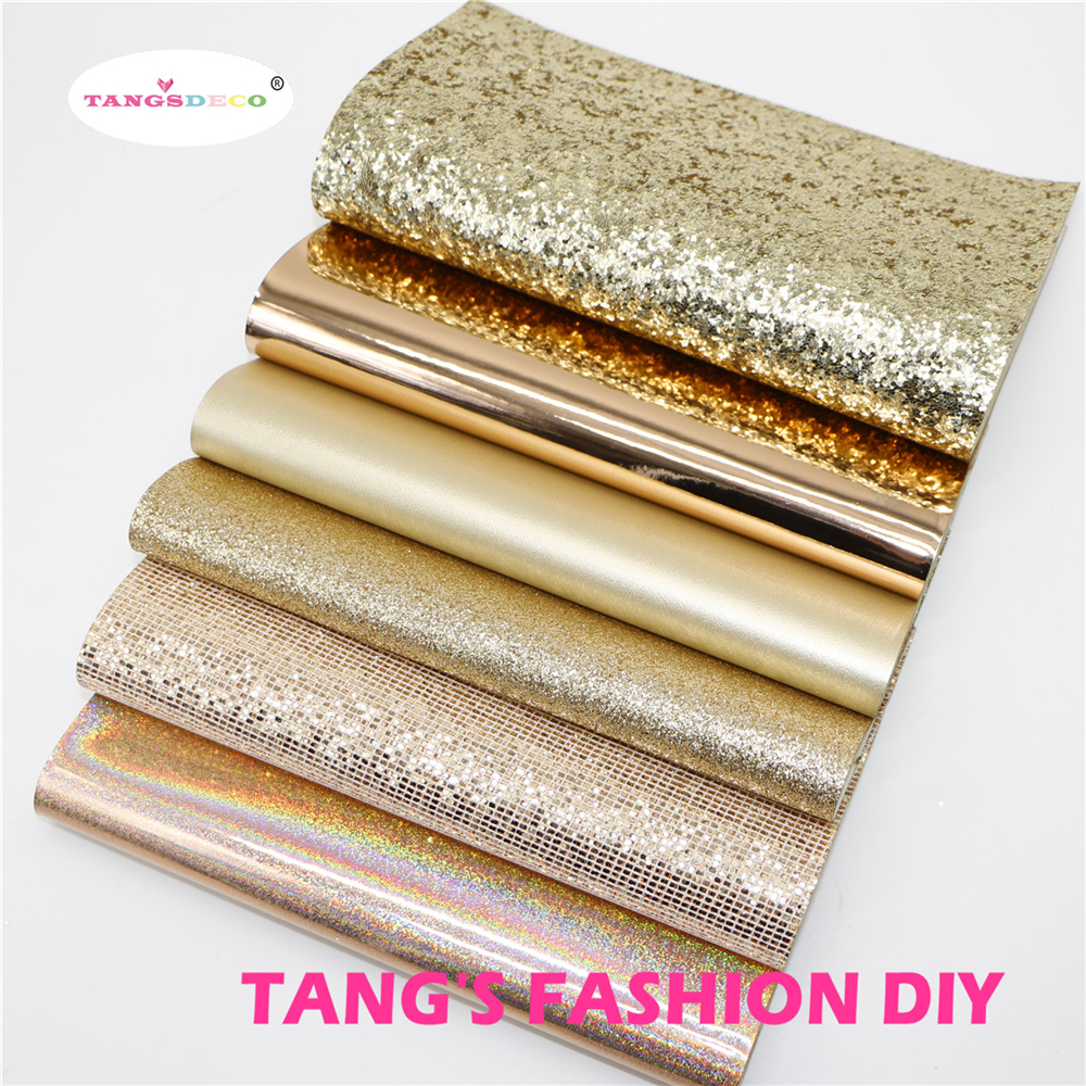 6pcs-High Quality NEW MIX STYLE Rose Gold Color Mix PU Leather Set/synthetic Leather Set/DIY Fabric Artificial Leather