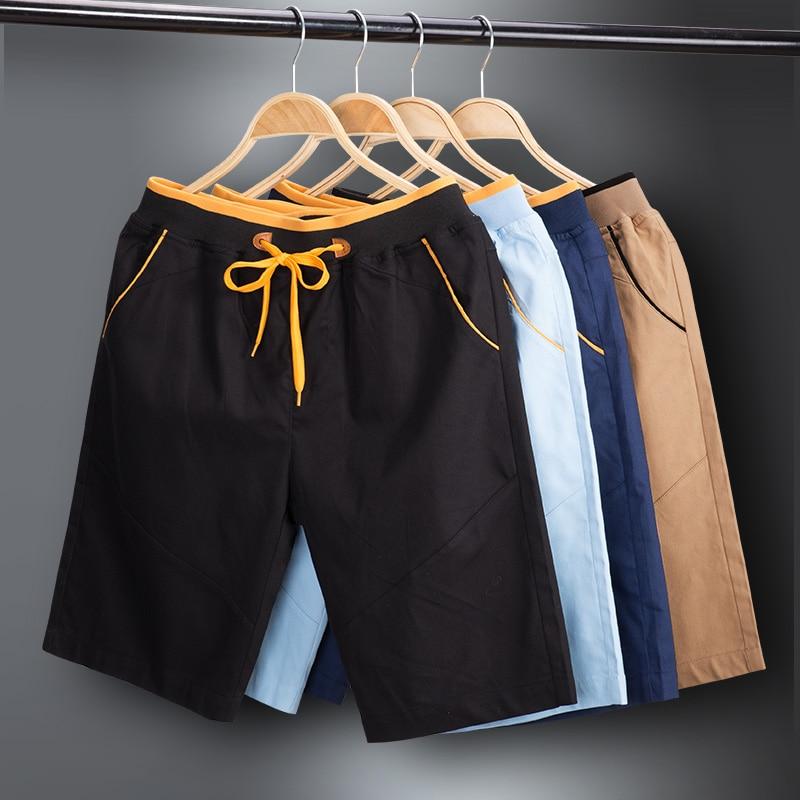 Summer Style Mens Shorts Classic Solid Color Mens Shorts Knee Length Elastic Waist Black Khaki Darkblue Lightblue M-4XL