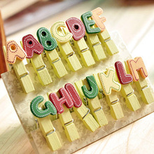 14pcs Creative Decorative Small Wooden Clip Letters Wood Paper Clips DIY Color Cute Cartoon Mini Letter Alphabet