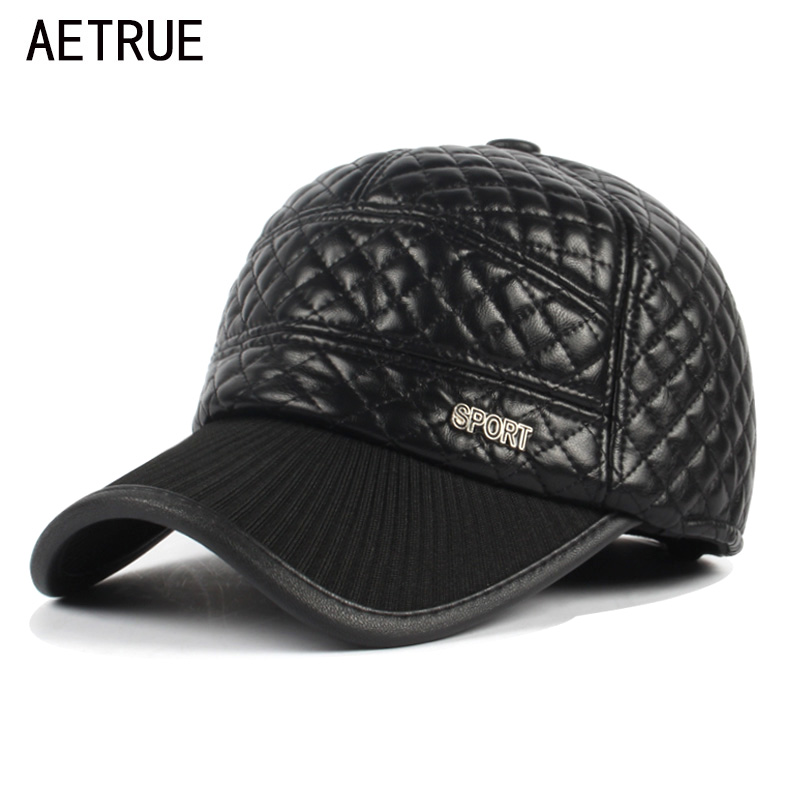 AETRUE Baseball Cap Men Snapback Black Dad Hats For Men Plaid PU Bone homme Earflaps Gorras Casquette Leather Cap Man Winter Hat aetrue winter knitted hat beanie men scarf skullies beanies winter hats for women men caps gorras bonnet mask brand hats 2018