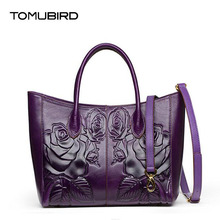 TOMUBIRD new Superior cowhide leather Embossing  famous brand women bag fashion genuine leather handbags Tote shoulder bag