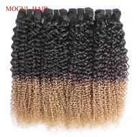 MOGUL HAIR Ombre Three Tone 1B 4 27 Blonde Ends Afro Jerry Curly Hair Weave Bundles Indian Remy Human Hair Extension
