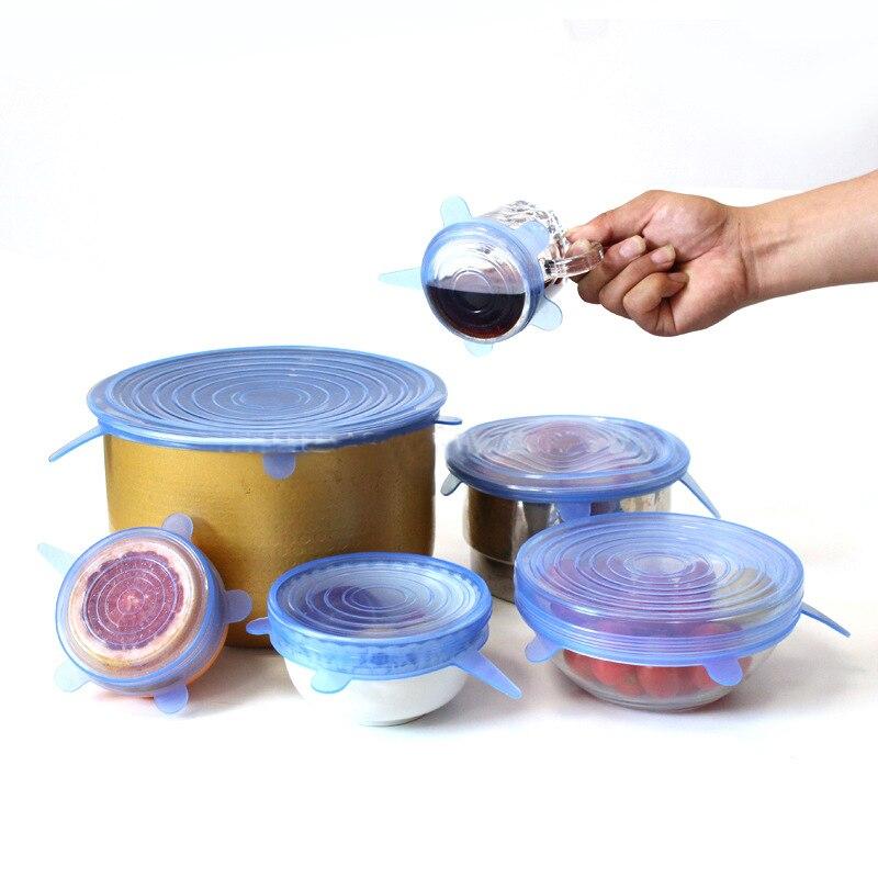 6pcs/set Silicon Stretch Lids Universal Lid Silicone Food Saran Wrap Bowl Pot Cover Kitchen Gadgets Accessories Supplies