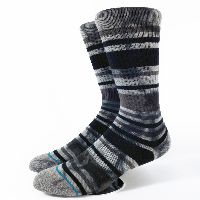 Mens Tie Dye Dark Gray Strip Crew Skate Socks USA Size M(6-9),L( 9-12) ,Euro Size 39-42,42-45 (Medium Thick)