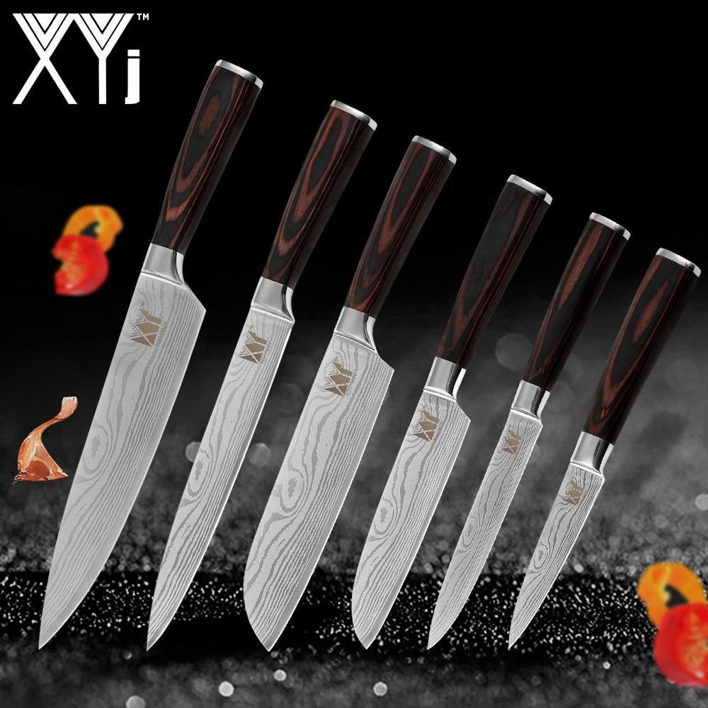 XYj juego de cuchillos de cocina de acero inoxidable herramientas cuchillo nueva llegada 2019 de madera de Color mango fruta carne vegetal herramientas de la cocina Accesorios