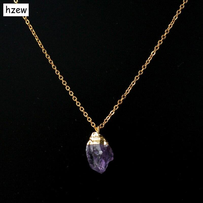 hzew 45cm Sale Fashion Rough Natural Stone Pendant Necklaces Purple Crystal Druzy Drusy Quartz Vintage Necklace Women