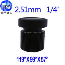 2pcs/lot, 2.51mm CCTV Camera Megapixel MTV IR CCTV Lens F2.25 1/4 M12 mount 650 ir filter TTL18.1mm