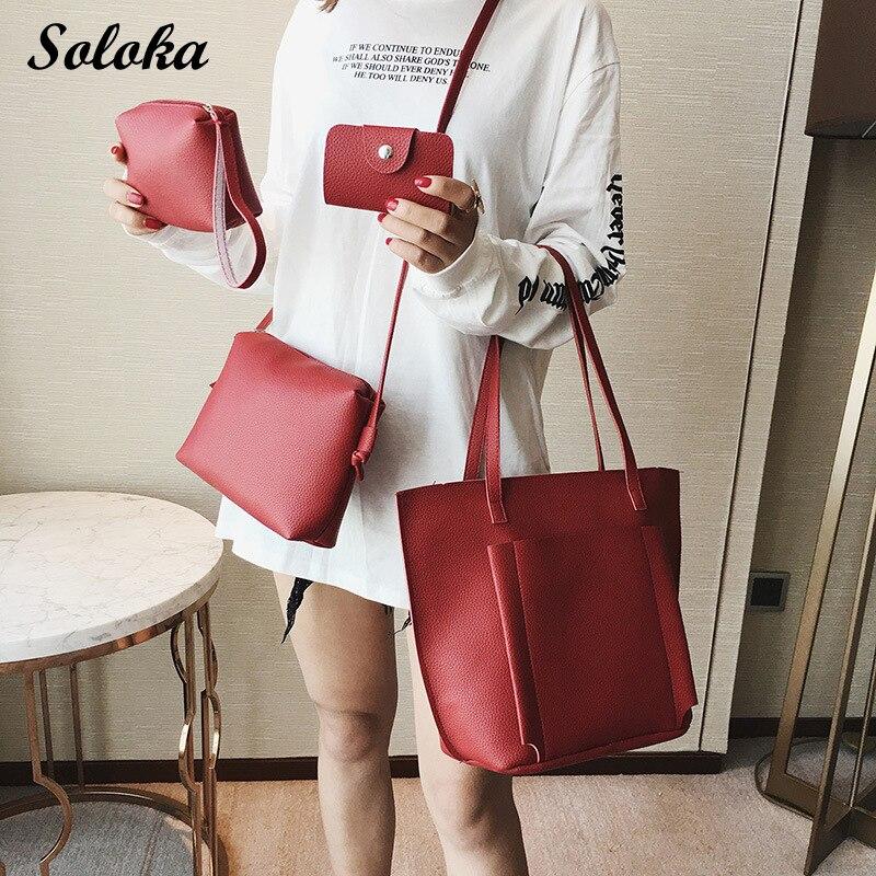 4pcs Set Women s Bag Set Bolsas Feminina Solid Soft PU Femme Designer Messenger Shoulder Bags