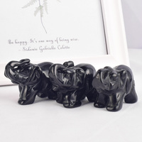 2 inch 3 pieces Natural Gemstones black obsidian elephant figurine carved craft quartz crystals statues for kids room decoration