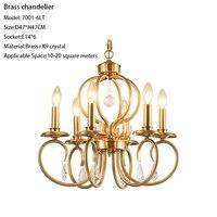 Vintage Gold brass chandelier copper 6 lights K9 crystal antique bronze chandelier lighting living room foyer dining room kitche