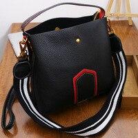Genuine Leather Handbag Women Bucket Bag Striped Hit Color Single Shoulder Bag Women High Quality Crossbody