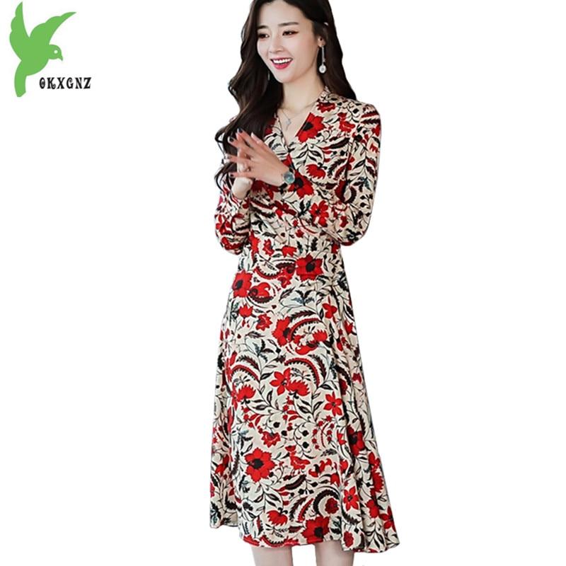 Новинка весны Для женщин шифоновое платье Модная одежда с длинными рукавами платье-пуловер тонкий женский напечатаны платье средней длины ...