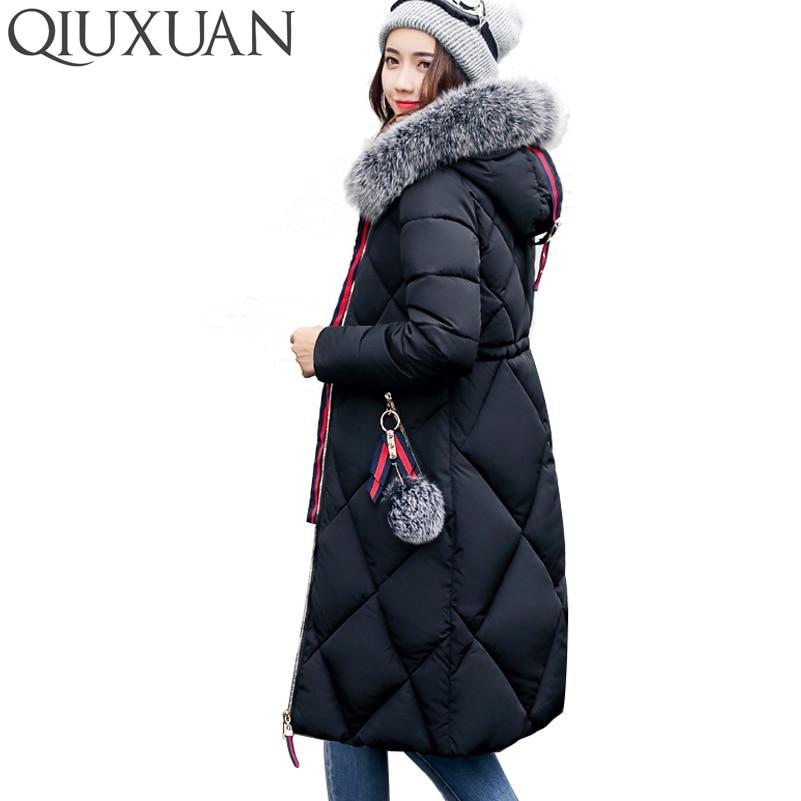 QIUXUAN Many Colors Women Clothing Winter Warm Hooded Slim Cotton Padded Jacket Faux Fur Long Parkas Female Outwear Coat