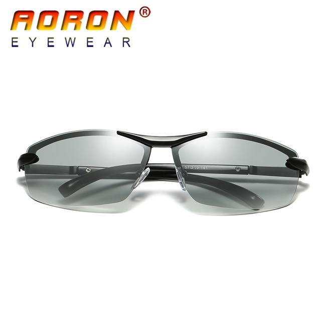62de4b2454 AORON Brand Photochromic Polarized Sunglasses Men Driving Anti Glare Goggles  HD discolour Lens Sun Glasses Eyeglasses