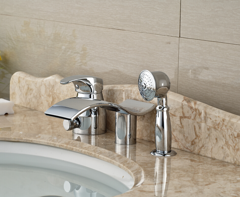 цена на Luxury Bathroom Basin Deck Mounted Sink Faucet Waterfall Mixer tap With Hand Shower Chrome Finished