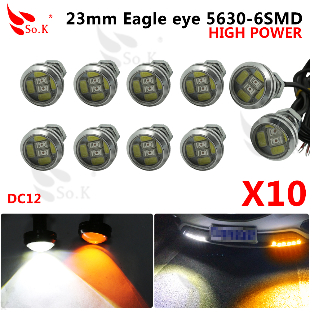 10pcs High brightness DRL 12V 23mm Eagle Eye Daytime Running Light LED Car work Lights Source Waterproof Parking lamp Switchback 2015new arrival eagle eye 3 smd led daytime running light 20pcs lot 10w 12v 5730 car light source waterproof parking tail light