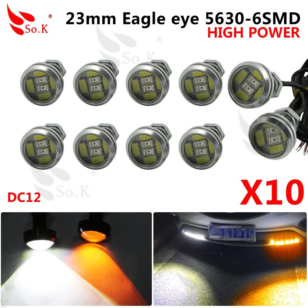 10pcs High brightness DRL 12V 23mm Eagle Eye Daytime Running Light LED Car work Lights Source Waterproof Parking lamp Switchback