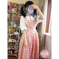 Original Japanese Soft Girl Mori Vintage Childlike Retro Strawberry Flower Forest Series Vest Dress