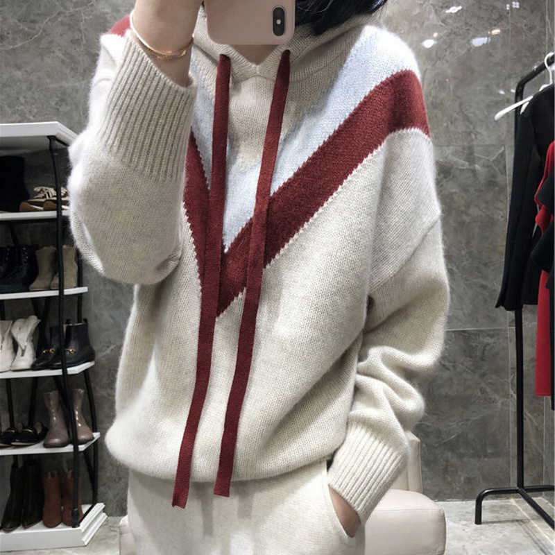 Winter New Hooded Women Sweater Cashmere knitted Pullover With Hat 2019 Fashion Thick Knitting Clothes Woman Jumper
