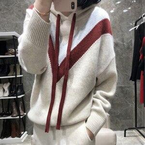 Image 1 - Новинка зимы с капюшоном женский свитер кашемир трикотажный пуловер со шляпой 2019 модная плотная трикотажная одежда женский джемпер