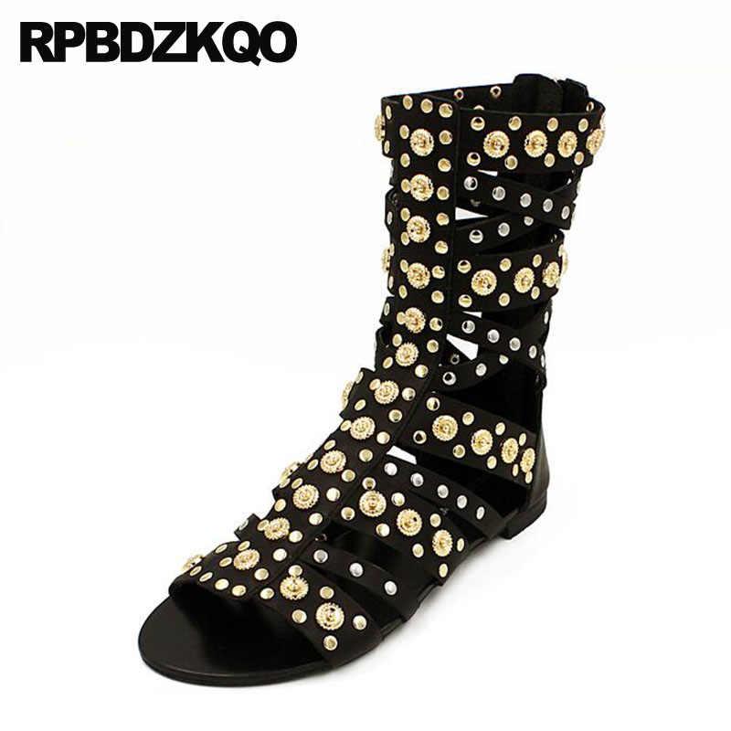 50e1d03d2d21 Gladiator Open Toe Ankle Shoes Luxury Metal Black Women Knee High Summer  Big Size 10 Stud