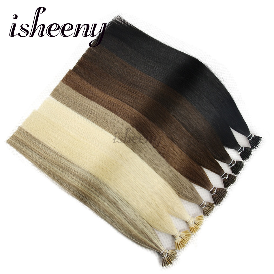 Isheeny 14 18 22 Remy Human Hair Extensions Beads Full Cuticle Micro Link Hair Extension Straight Hair Samples Limited