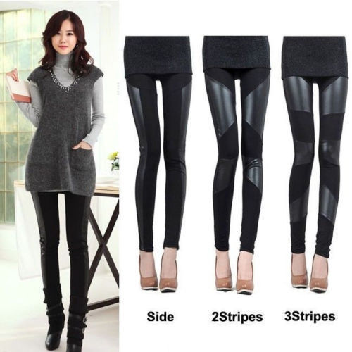 2018 New Women   Leggings   fashion HOT Sale Womens Faux Leather Patchwork Black   Leggings   Pants Slim Trousers Pants
