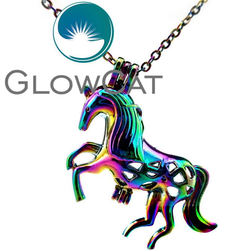 GLOWCAT CC179 Rainbow Colors Unicorn Beads Cage Pendant Essential Oil Diffuser Aromatherapy Pearl Cage Locket Necklace