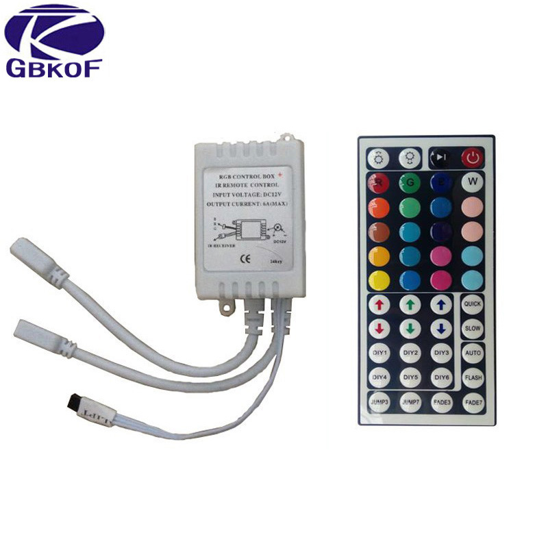 44 Keys Or 24 Keys DC12V Dual Connectors Output IR Remote RGB Controller Lamp Dimmer For 10M 5M 3528 2835 5050 LED Strip Light