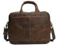 Nesitu высокое качество Винтаж коричневый Толстая Crazy Horse кожа Для мужчин Портфели портфель из натуральной кожи Для мужчин Курьерские сумки M8013