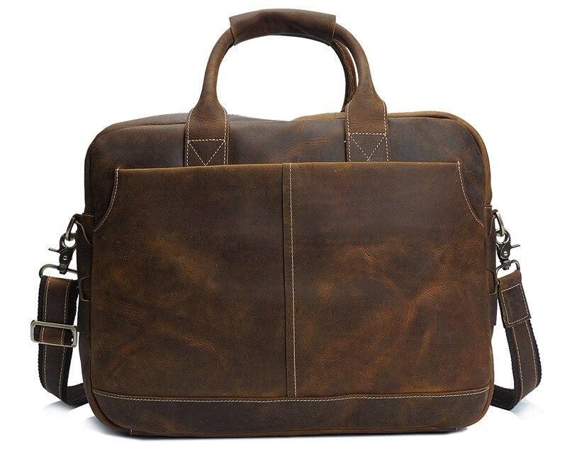 Nesitu de alta calidad Vintage marrón grueso Caballo Loco cuero hombres maletín portafolio de cuero genuino hombres bolsos de mensajero M8013