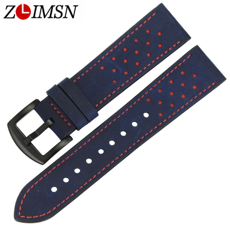 ZLIMSN 22mm Watch Bands Brown Genuine Leather Watchbands Straps Replacement with Black Silver 316L Stainless Steel Buckle zlimsn alligator leather watch bands strap watches accessories 20 22mm black brown genuine leather watchbands butterfly buckle