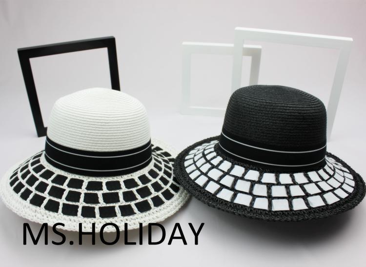 c932e68437b455 2015 Classic simplicity Black&white dress hat fashion bucket hats topi  Travel Sun cap women Brand Straw hat Visors chapeu gorras-in Sun Hats from  Women's ...