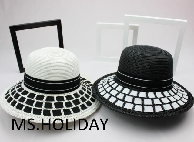 2015 Classic simplicity Black&white dress hat fashion bucket hats topi Travel Sun cap women Brand Straw hat Visors chapeu gorras