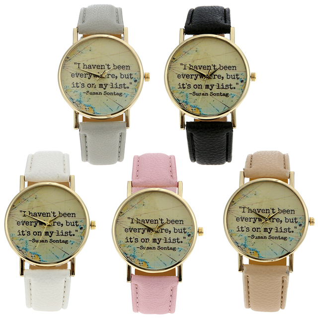 susan sontag Sentence Motto Watches Women Travel Navigation Leather Wristwatches Vintage Quartz Watch for Women Wristwatch 2017