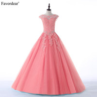 Favordear New Collection Quinceanera 15 Years Vestidos De 15 Anos High Neck Red Pink Turquoise Quinceanera