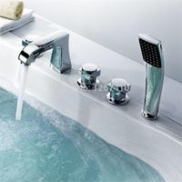 Promotion Product Water Saver Luxury Solid Brass Chrome Finished 5pcs Tub Faucet Mixer Taps Bath Filler