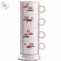 HOMIE Cute Flaming oanimal Coffee Cup Set ceramics Mugs with Iron shelf creative Drinkware Coffee Tea CupsSimple Home Office 300