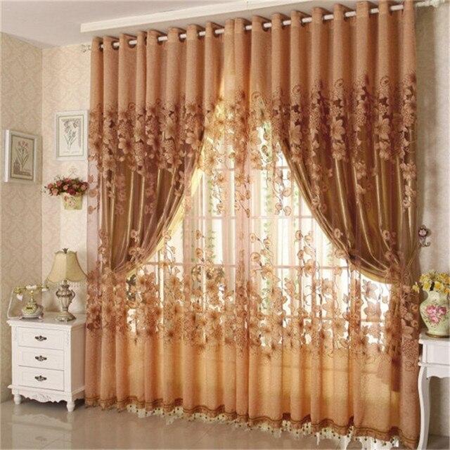 1 Pc 100*250cm Grommet Top Design Door Bedroom Window Curtain Gauze Lily Flower Burnout & 1 Pc 100*250cm Grommet Top Design Door Bedroom Window Curtain ...