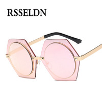 RSSELDN Fashion Big Vintage Hexagon Sunglasses Women Mirror Silver Green 2017 Hot Vintage Round Lens Sun