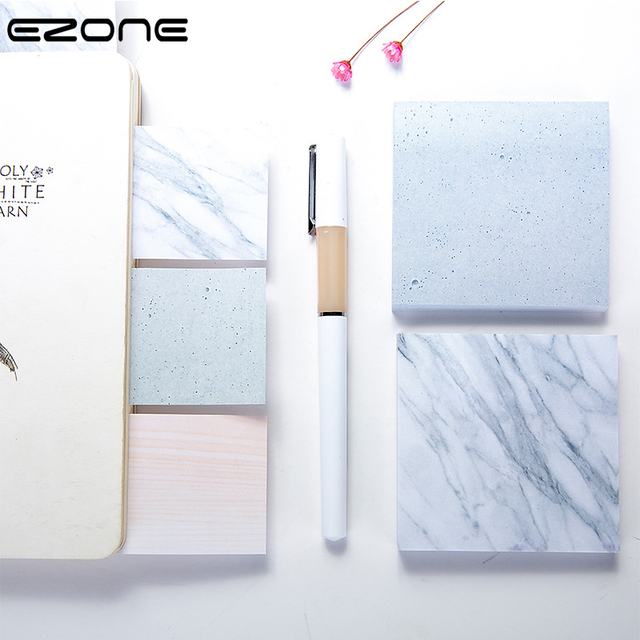 EZONE Marble Printed Sticky Note Creative Style Memo Pad Self-Adhesive Square Papers Bookmark Stationery School Office Supply