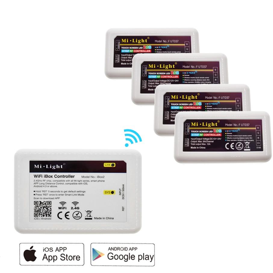 Mi Light WiFi iBox2 Controller 2.4G Hz + 4 * 2.4G RF RGB/RGBW/RGBWW/Color Temperature/Dimmer Brightness Strip Controller mi light wifi led controller 4x2 4g dc12v 24v led controller rgbw 4 zone rf remote control for 5050 3528 led strip light