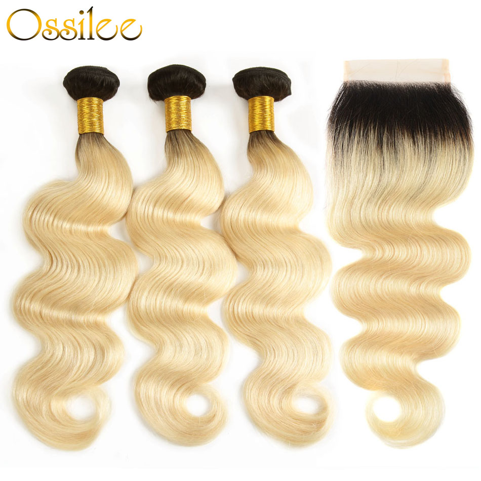 Ossilee Blonde Bundles with Closure 1b/613 Bundles Brazilian Body Wave Bundles with Closure Non Remy Hair Bundles with Closure