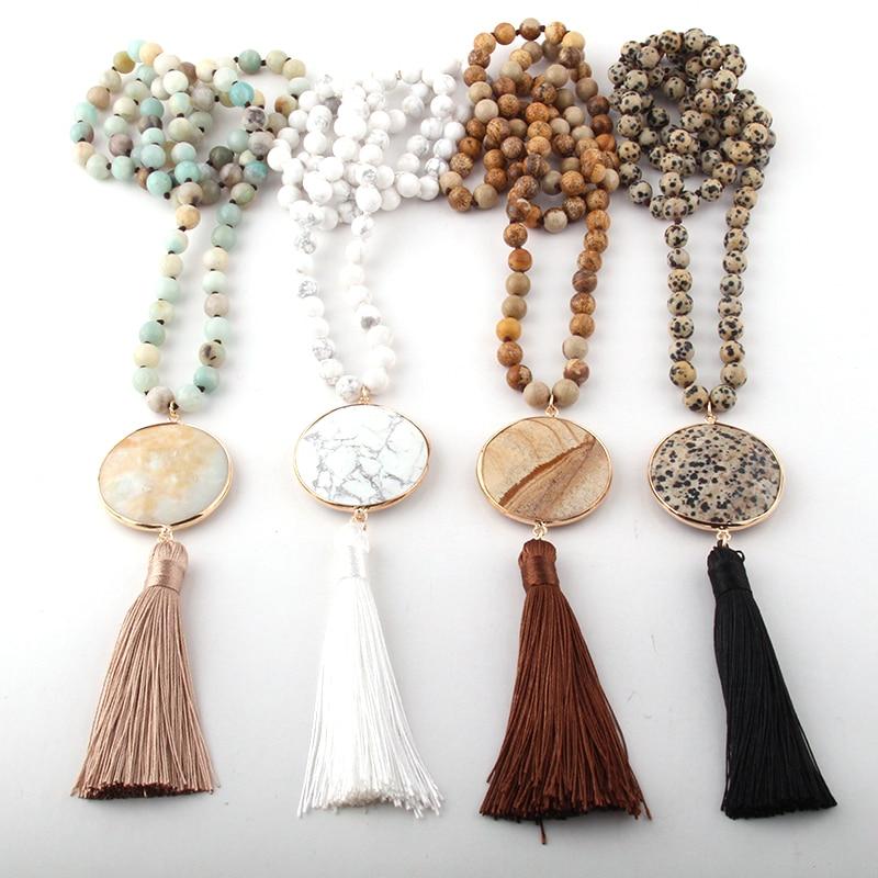Mode bohème bijoux pierres semi-précieuses longues nouées correspondant pierre liens gland colliers pour femmes collier ethnique