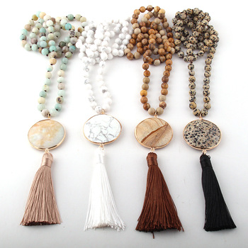 Fashion Bohemian Jewelry Semi Precious Stones Long Knotted Matching Stone Links Tassel Necklaces For Women Ethnic Necklace Fashion Jewelry