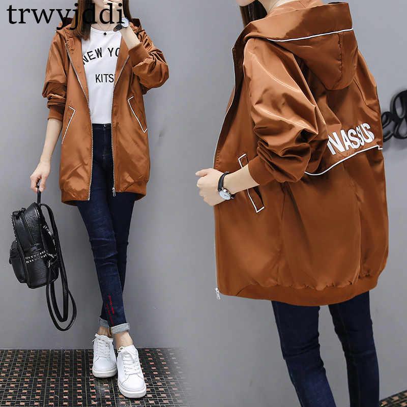 Ilkbahar sonbahar uzun rüzgarlık kadın koreli 2020 yeni kapüşonlu ceket kızlar BF gevşek rahat beyzbol üniforma ceket kadın A1406