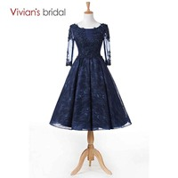 Vivian S Bridal Tea Length Beaded Lace A Line Evening Dress Long Sleeve Tulle Evening Gown